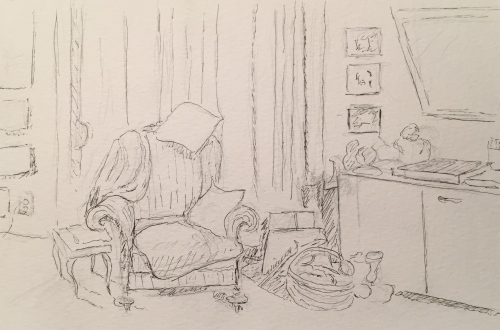 Pen and Ink: Living Room at Mom's Apartment