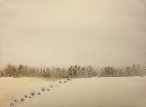 Watercolor: Bare Tree Horizon with Snowy Foreground and Tracks