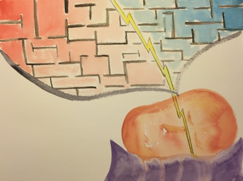Watercolor: Sleeping Head Dream Compartments Blasted Through