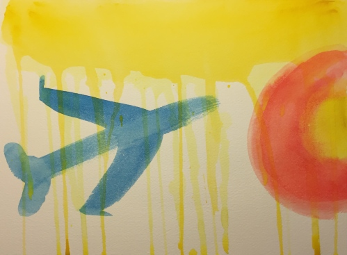 Watercolor: Airplane Silhouette Pointed Toward a Red/Orange Orb