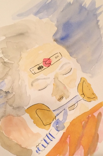 Watercolor: February 20, 2015 Mom in Hospital