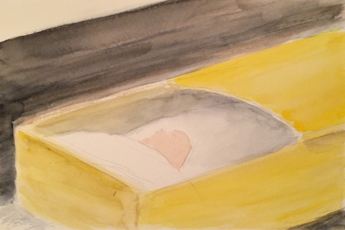 Watercolor: Casket and Mom