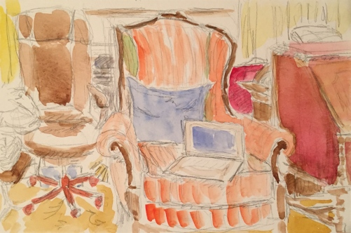 Watercolor: Family Room with Mom's Stuff in It