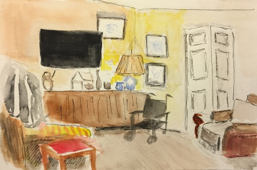Watercolor: Sketch of Mom's Apartment on the Day I Arrived