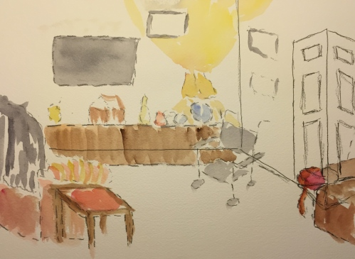Watercolor: Memory of Mom's Apartment 2-28-15