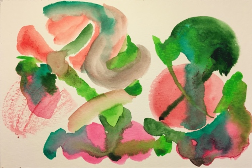 Watercolor: Abstract - Compliments, Red and Green
