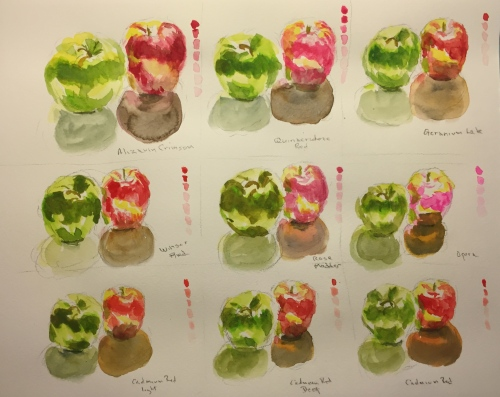 Watercolor: Stage 3 Color Testing Apple Chart