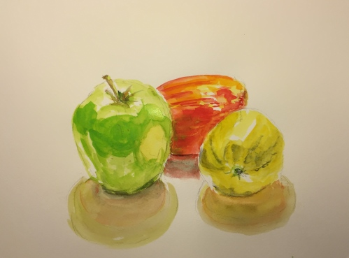 Watercolor: Two Apples and a Lemon
