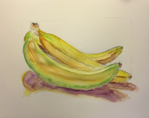 Watercolor: Bunch of Bananas