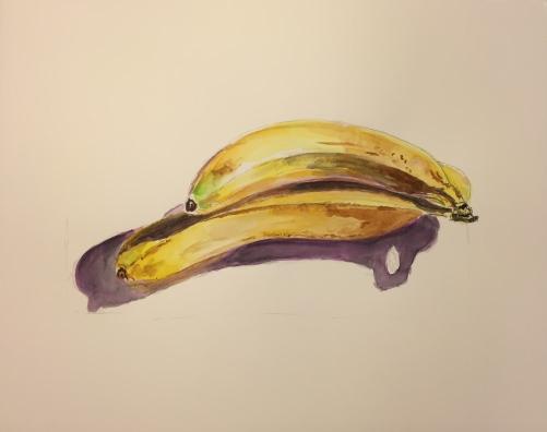 Watercolor: Vibrant Bananas Al Fresco