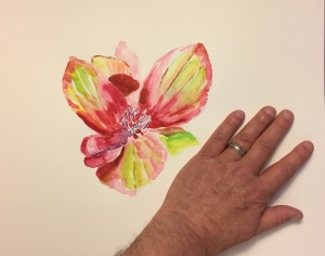 Watercolor: Hydrangea Flowerlet with Hand to Show Scale