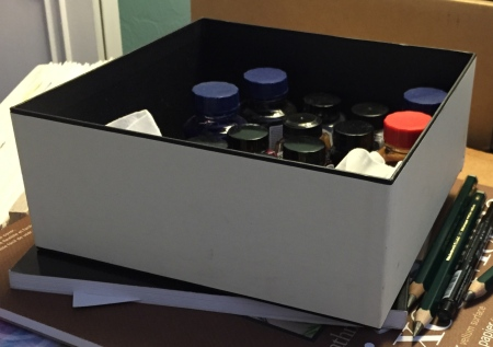 Photograph: Box with Ink Bottles Inside