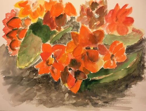 Watercolor: Abstract Close Up of Succulent