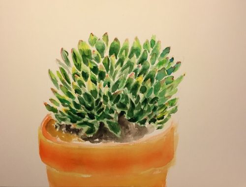 Watercolor: Succulent with Green Triangular-Shaped Leaves