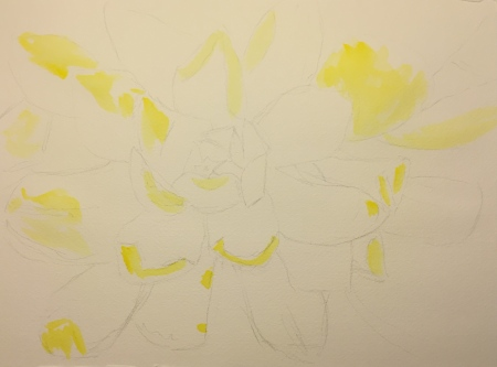 Watercolor: Unknown Succulent Top View Stage 1 - Lemon Yellow