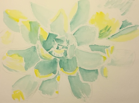 Watercolor: Unknown Succulent Top View Stage 2 - Lemon Yellow + Viridian Green