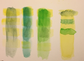 Watercolor: Color Strips Testing Terra Verte, Viridian, Green #2 with Lemon Yellow