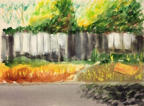 Watercolor: Fence with White Planks