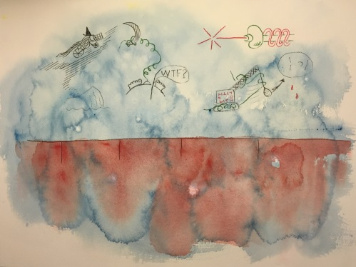Watercolor and Pen and Ink: Abstract with Icons and Red Below the Eyelashes
