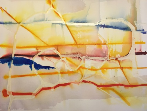 Watercolor and Ink: Abstract with Latex Resist - Stage 1