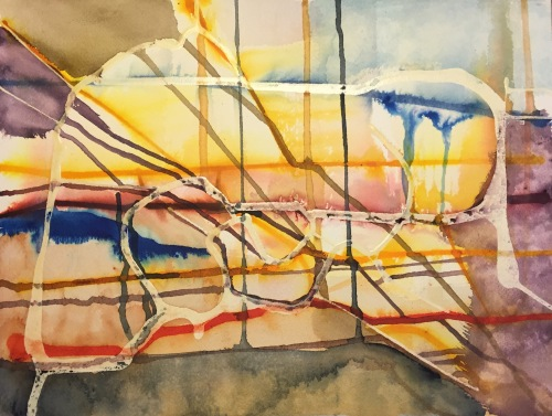 Watercolor and Ink: Abstract with Latex Resist - Stage 2
