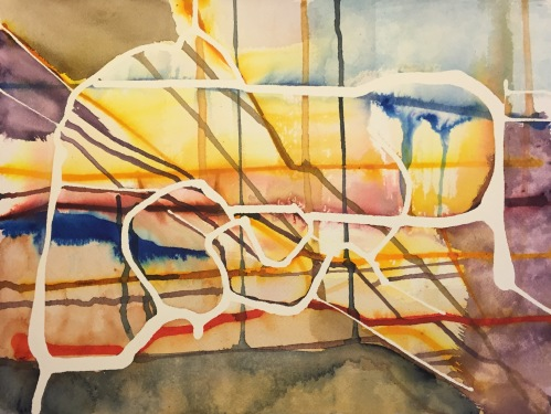 Watercolor and Ink: Abstract with Latex Resist