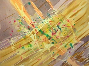 Watercolor: Abstract 060115 - Stage 5, Latex Resist, Splatter, Mixed Colors and Earth Tones