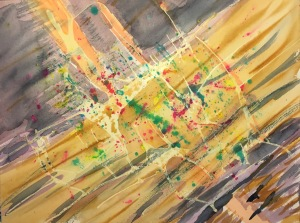 Watercolor: Abstract 060115 - Stage 6, Latex Resist, Splatter, Mixed Colors, Earth Tones and Payne's Gray