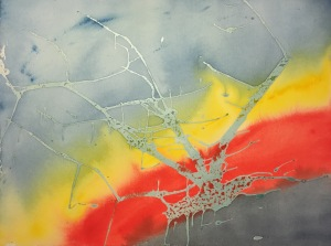Watercolor : Abstract - Masking Fluid and Initial Washes