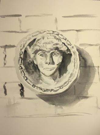 Watercolor: Head Sculpture at Brooklyn Museum