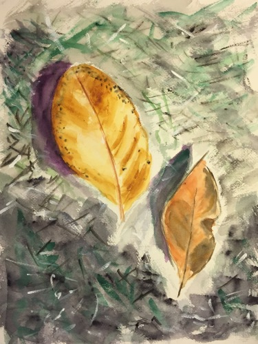 Watercolor: Dried Leaves on the Ground