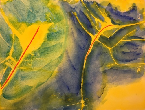 Watercolor: Abstract with Manganese and Cerulean Deep Blues, Aureolin Yellow and Cadmium Red Light