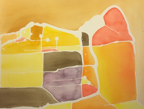 Watercolor: Abstract , White Lines Around Colored Fields