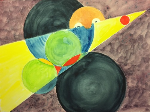 Watercolor: Circles and Triangle with Gilroy Looking In