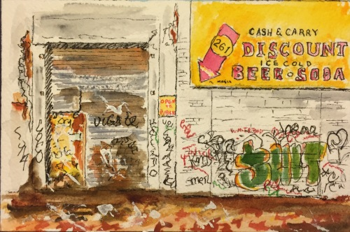 Watercolor: Graffiti on the Beer and Soda Building