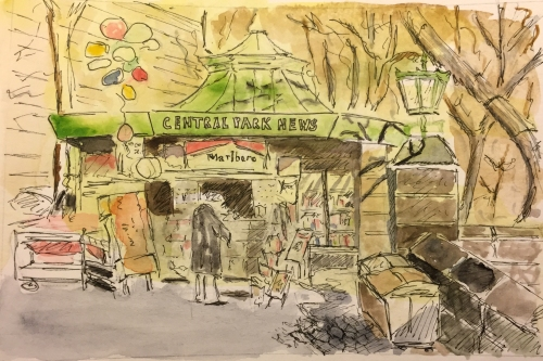 Watercolor: Newsstand at Central Park and Columbus Circle