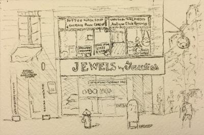 Pen and Ink: Sutton Clock Shop