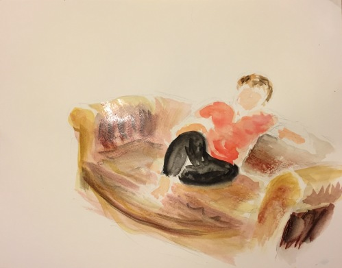 Watercolor: Joy on the Couch