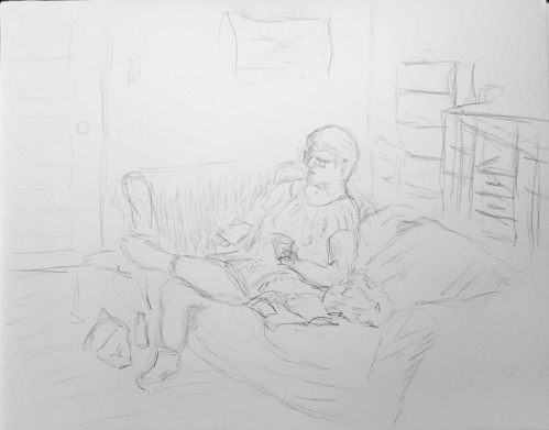 Sketch: Morning Coffee at the Kids' House