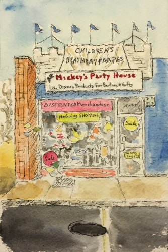 Watercolor Pen and Ink Study: Party Shop in North Belmore, NY