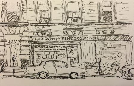 Ink Sketch: Leo Weitz Fine Books - Madison Ave, NYC