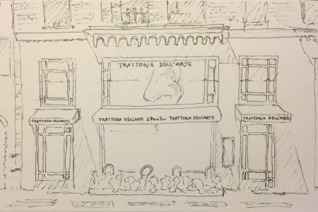 Ink Sketch: Trattoria with Nose in Window