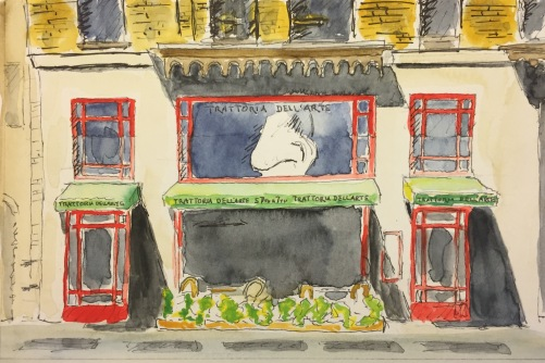 Watercolor: 'Nose' in the Window at Trattoria Dell Arte, NYC