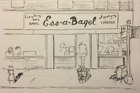 Ink Sketch: Bagel Store on 1st Avenue and 21st Street in NYC