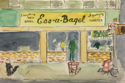 Watercolor: Bagel Store on 1st Avenue and 21st Street in NYC