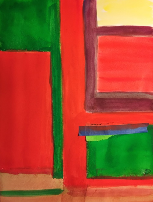 Watercolor: Abstract - Color Blocks of Complementary Colors from 072415