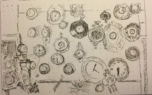 Pen and Ink: Sketch of Clocks Inside Sutton Clock Shop