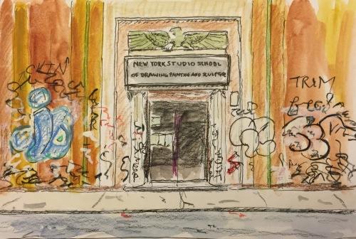 Watercolor, Colored Pencil: Building and Graffiti