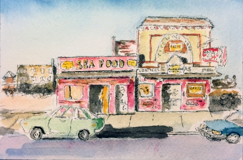 Watercolor Pen and Ink: Sea Food Storefront, Coney Island