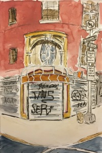 Watercolor: Graffiti on the Corner of 26th and 3rd